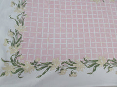 Tan Daffodils on Pink Trellis Floral Vintage Printed Tablecloth (52 X 48)