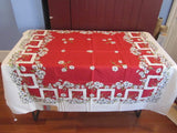 Daisies on Greek Key Red MWT Floral Vintage Printed Tablecloth (54 X 53)