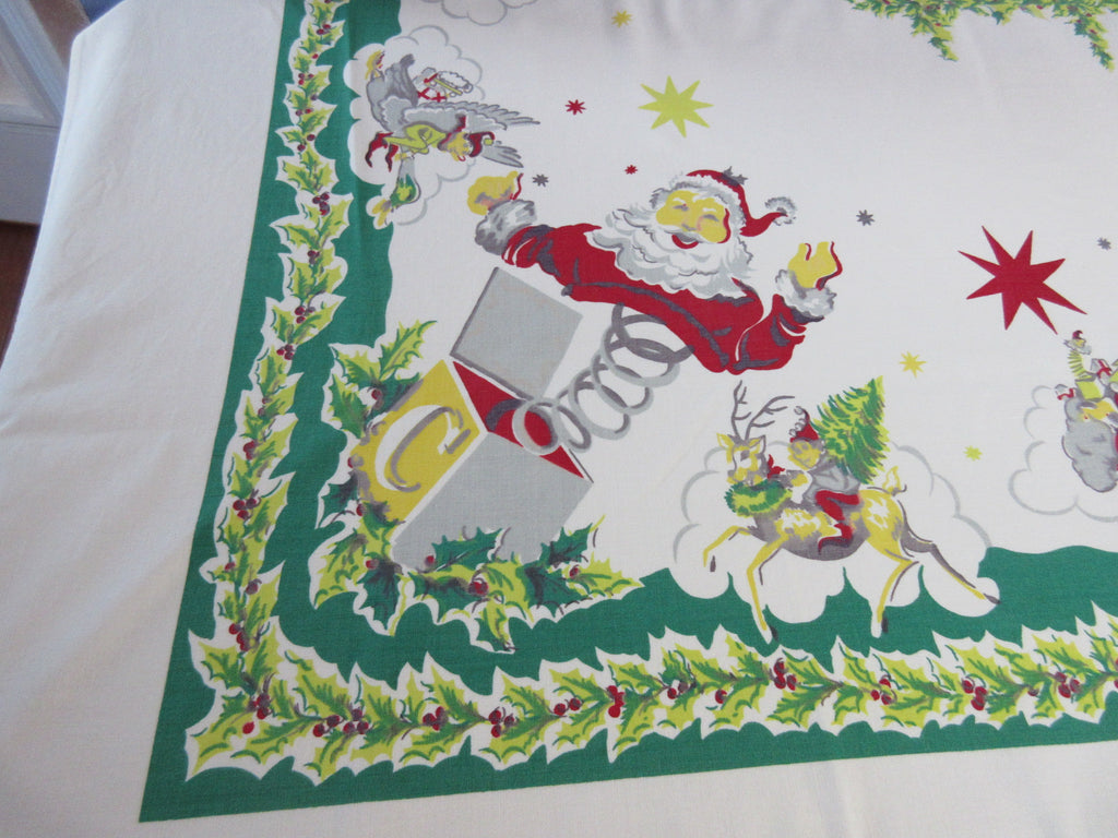 Santa in a Box Simtex Christmas Vintage Printed Tablecloth (68 X 58)