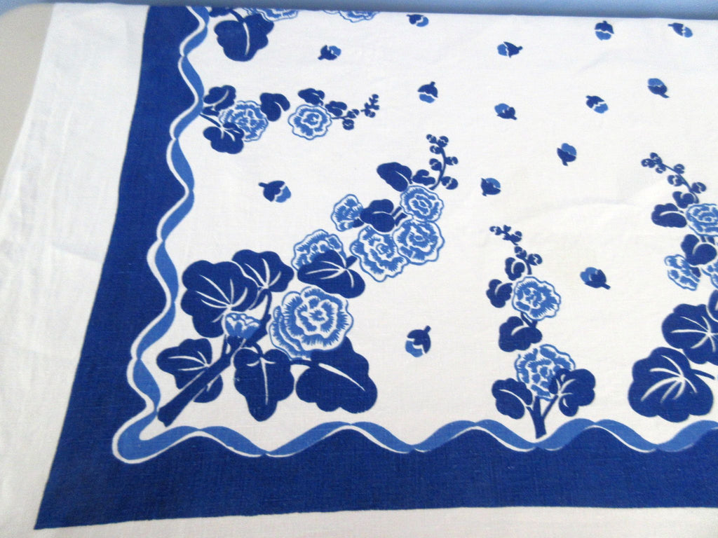 Cobalt Blue Hollyhocks Two Color Linen Floral Vintage Printed Tablecloth (52 X 52)