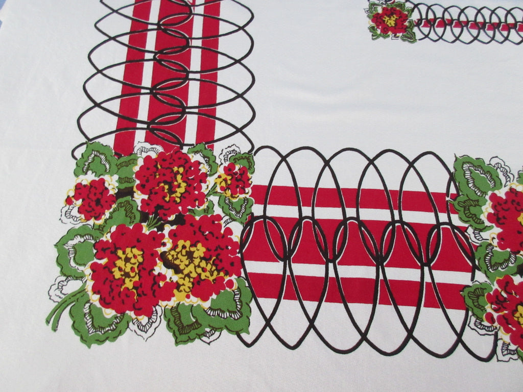 Red Green Geraniums Heart Trellis Floral Vintage Printed Tablecloth (75 X 57)
