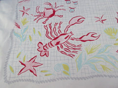 IMPERFECT HTF Seafood Lobster Crab Simtex Novelty Vintage Printed Tablecloth (54 X 49)