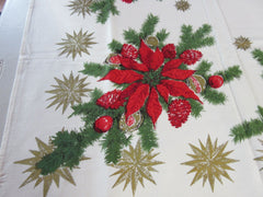 Poinsettias and Gold Stars Christmas Vintage Printed Tablecloth (66 X 50)