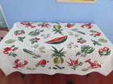 Funky Fifties Food Lobster Novelty Vintage Printed Tablecloth (53 X 46)