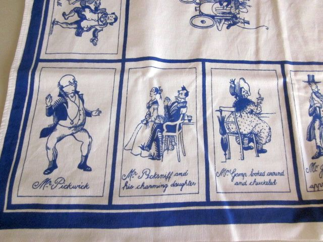Dickens Character Drawings Novelty Vintage Printed Tablecloth (36 X 32)