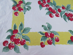 Bright Red Green Cherries on Yellow Fruit Vintage Printed Tablecloth (64 X 50)