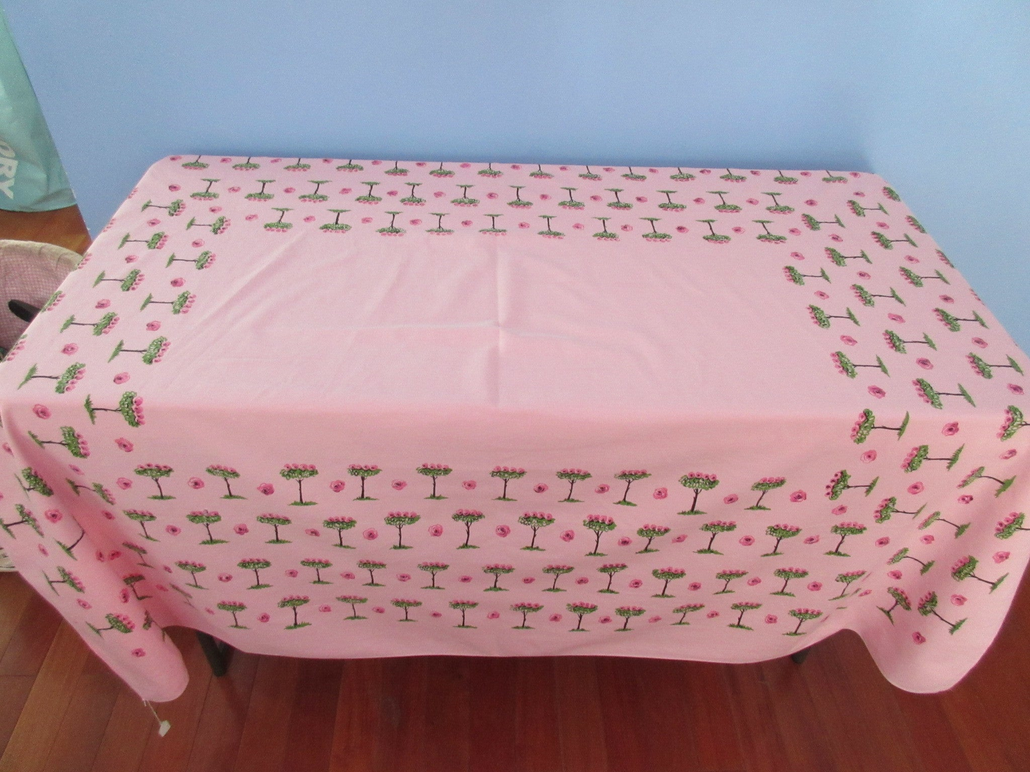 Pink Rose Trees On Pink Floral Cutter? Vintage Printed Tablecloth (60 X 52)