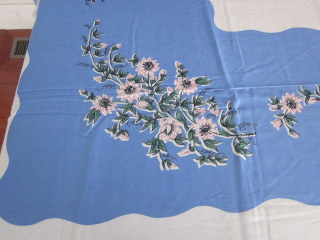Pink Blue Rayon Floral MWT Vintage Printed Tablecloth (70 X 55)
