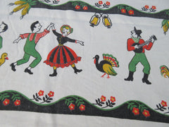 Barn Dance Fall Turkey Ducks Novelty Vintage Printed Tablecloth (64 X 50)