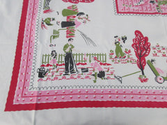 HTF Pink Family Gardening Fun Novelty Vintage Printed Tablecloth (50 X 46)
