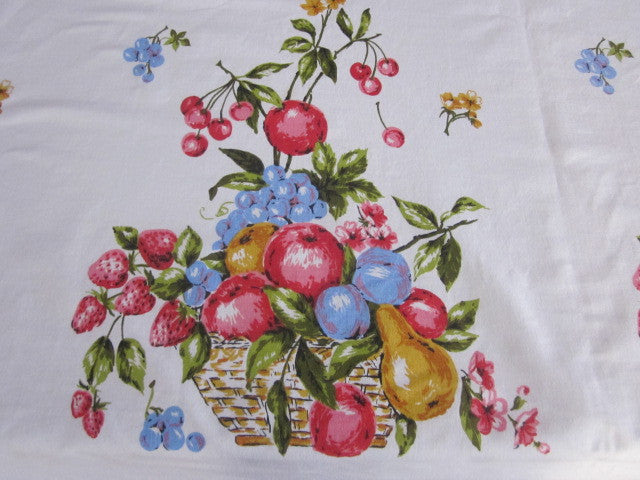 Pink Blue Fruit Pyramid Vintage Printed Tablecloth (63 X 52)