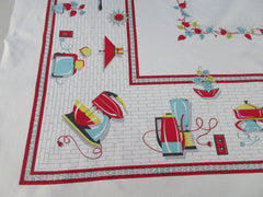 Red Black Aqua Appliances HTF Novelty Vintage Printed Tablecloth (49 X 47)