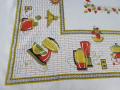 Fall Gold Orange Green Appliances HTF Novelty Vintage Printed Tablecloth (50 X 48)
