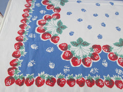Red Green Strawberries on Blue Fruit Vintage Printed Tablecloth (51 X 46)