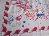 Rare Damaged Carnival Novelty Vintage Printed Tablecloth (53 X 48)