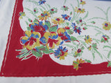 Early Primary Pansies Daisies on Red Floral Vintage Printed Tablecloth (65 X 49)