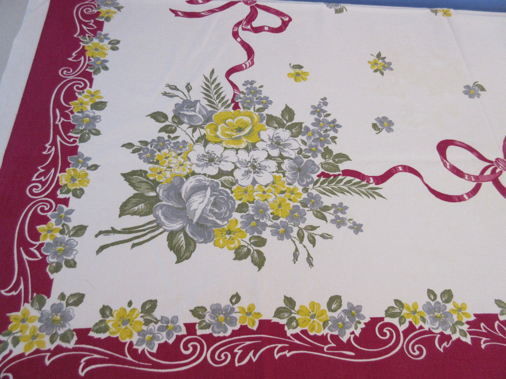 Yellow Gray Roses Ribbons on Magenta Cutter? Floral Vintage Printed Tablecloth (54 X 46)