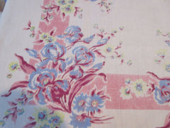 Shabby Pastel Iris Pink Blue Linen Floral Vintage Printed Tablecloth (53 X 50)