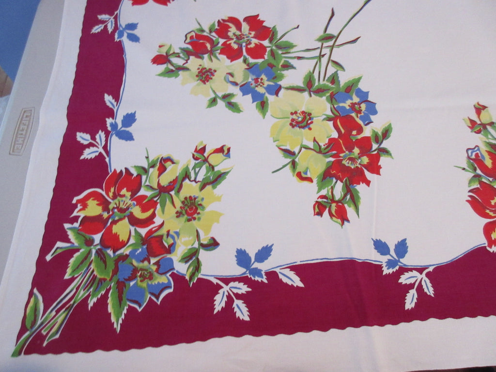 Wilendur Bright Wild Roses on Magenta Cutter? Floral Vintage Printed Tablecloth (64 X 53)