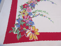 Wilendur Pastel Daisy Arcs on Red Floral Vintage Printed Tablecloth (63 X 52)