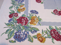 Primary Red Blue Green Hydrangeas on Gray Floral Vintage Printed Tablecloth (51 X 45)