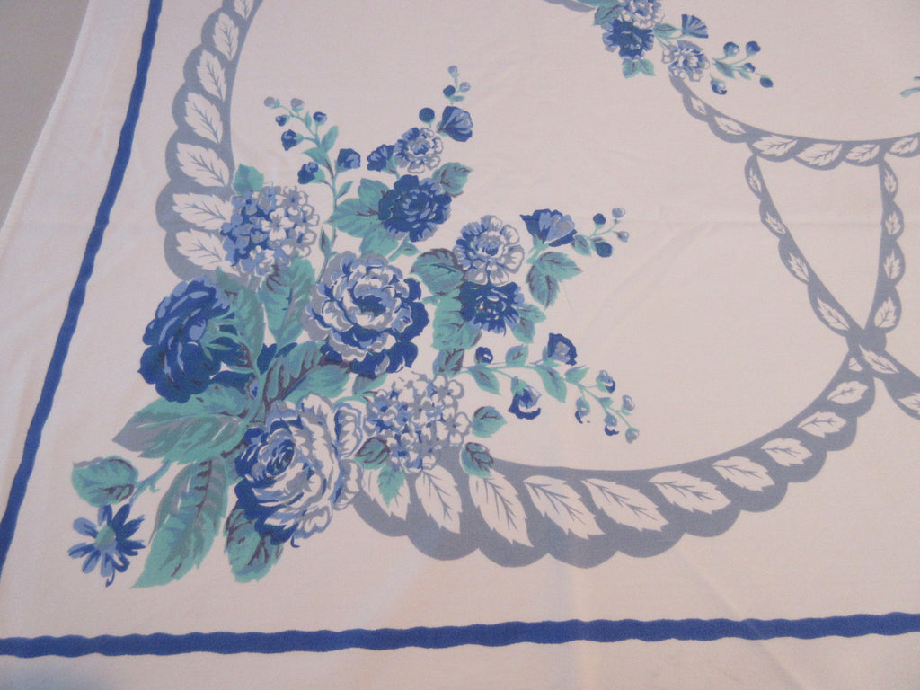 Blue Green Camellias Swoops Cutter? Floral Vintage Printed Tablecloth (60 X 51)