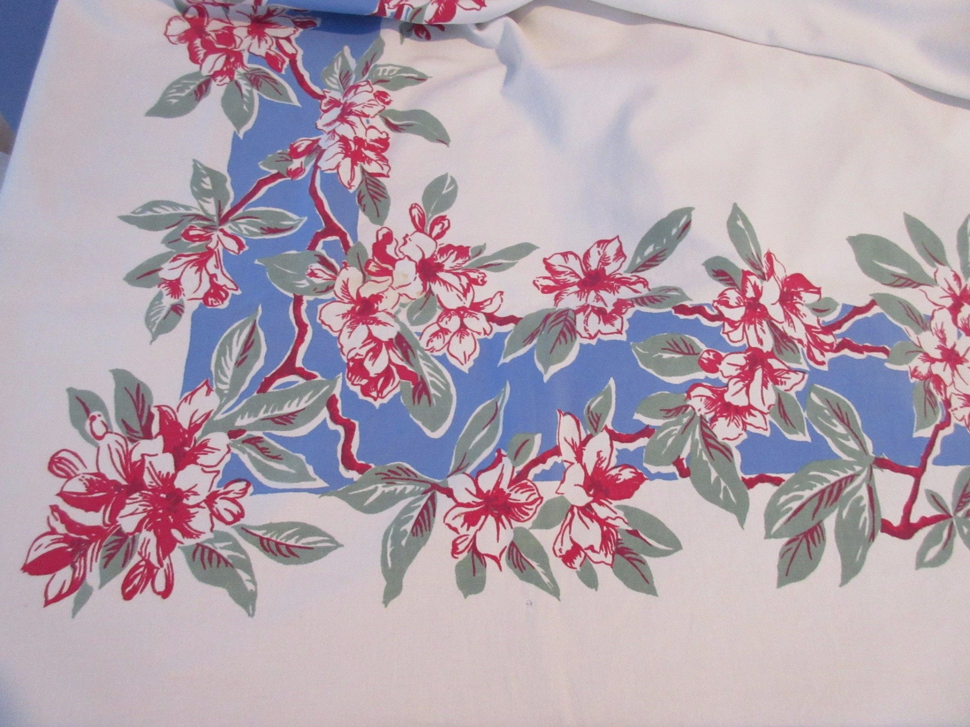 Red Green Rhododendrons on Blue Cutter? Floral Vintage Printed Tablecloth (70 X 54)