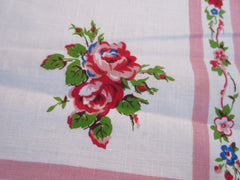Gorgeous Roses on Pink MWT Linen Floral Vintage Printed Tablecloth (53 X 51)