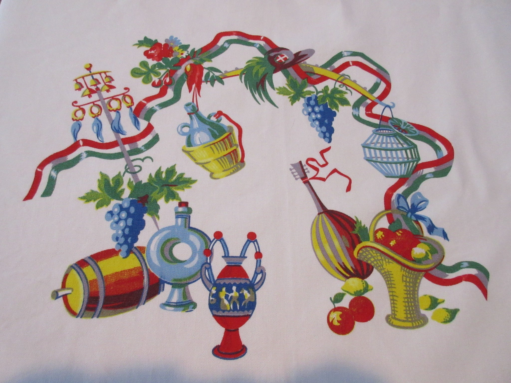 HTF Wilendur Italy Italian Icons Novelty Vintage Printed Tablecloth (63 X 52)