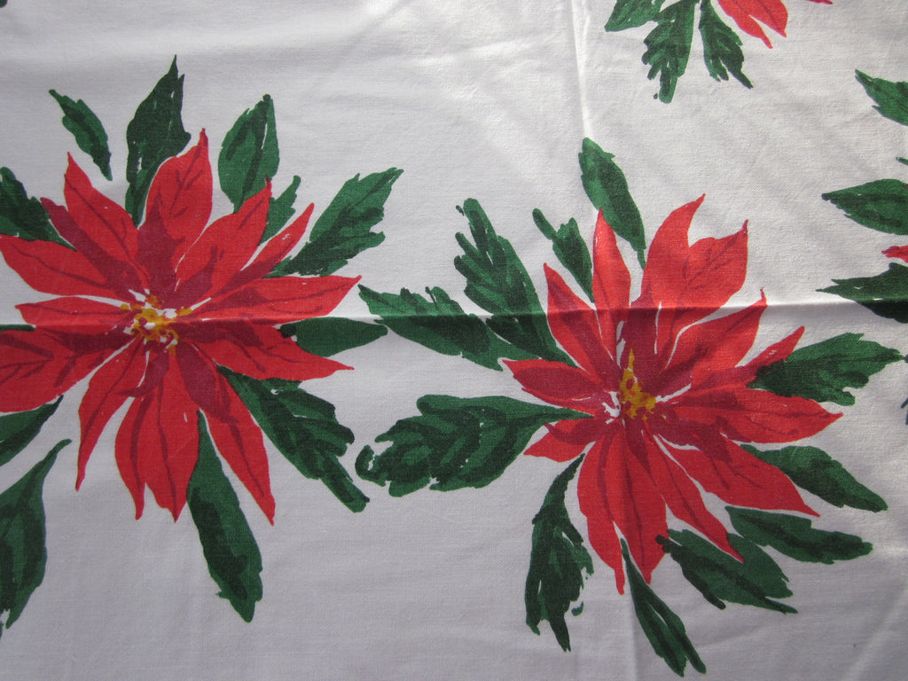 Vera Yardage Christmas Poinsettia Napkins Vintage Printed Tablecloth (50 X 48)