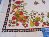 Fab Fall Fruit Bowls Burlap Linen 1960s MWT Vintage Printed Tablecloth (73 X 52)