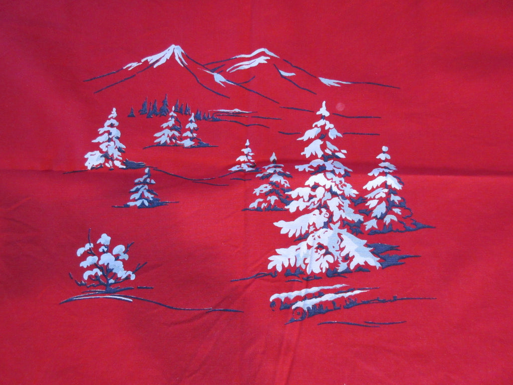 Wilendur Pine Trees Mountains on Red Christmas Vintage Printed Tablecloth (54 X 49)