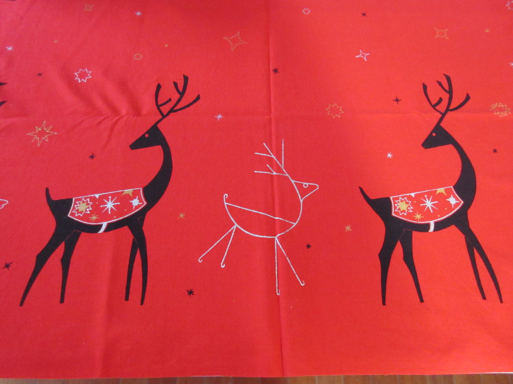 CHP Mod MCM Reindeer on Red Christmas Vintage Printed Tablecloth (66 X 53)