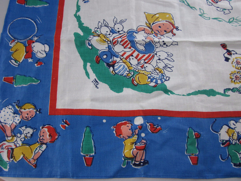 Unwashed Children Mabel Lucie Attwell Novelty Vintage Printed Tablecloth (44 X 42)