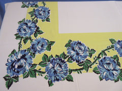 Blue Green Chrysanthemums on Lemon Yellow Floral Vintage Printed Tablecloth (62 X 51)