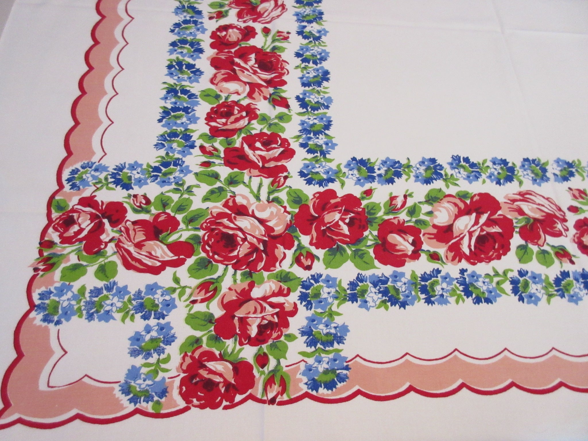 Pink Roses Blue Delphiniums on Pink Scallops Floral Vintage Printed Tablecloth (52 X 46)