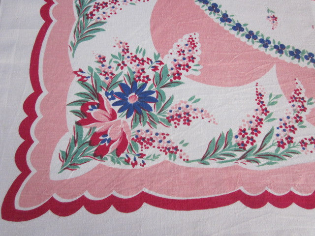 Flowers Blueberries on Pink Linen Floral Vintage Printed Tablecloth (50 X 48)