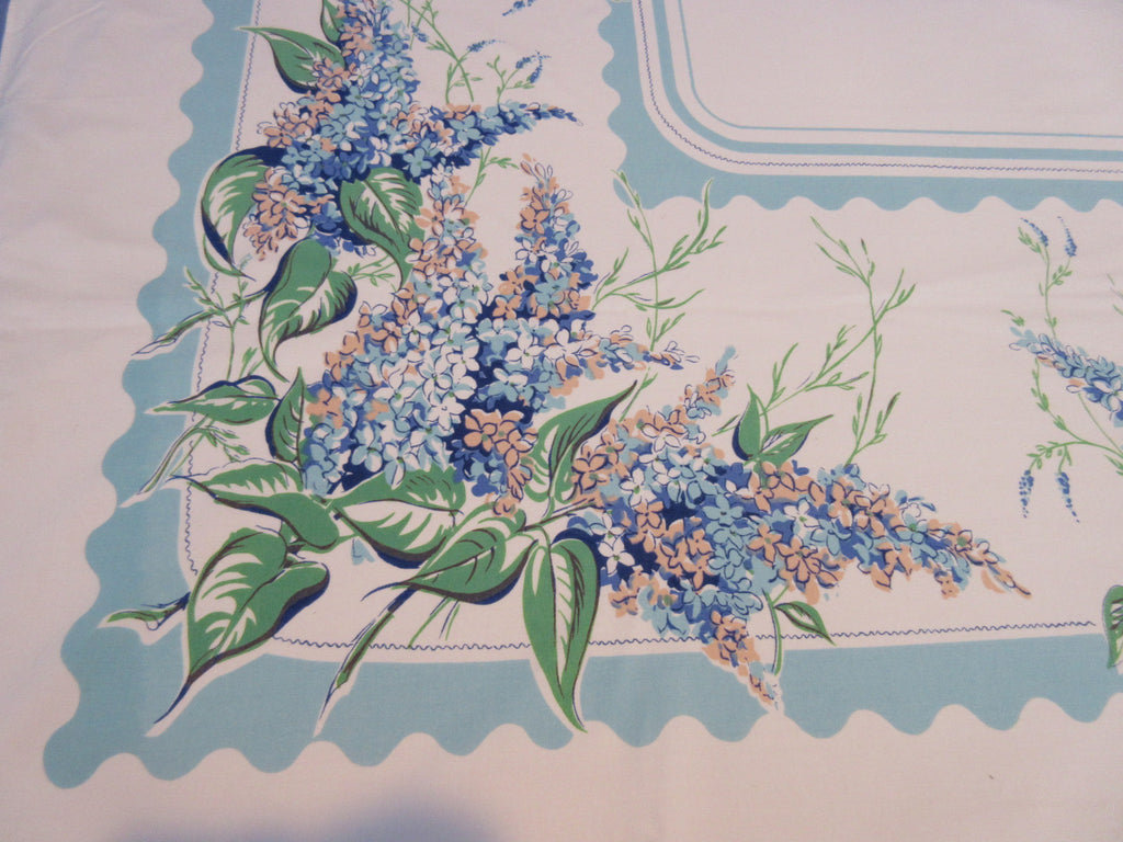 Peach Lilacs on Aqua Floral Vintage Printed Tablecloth (64 X 52)
