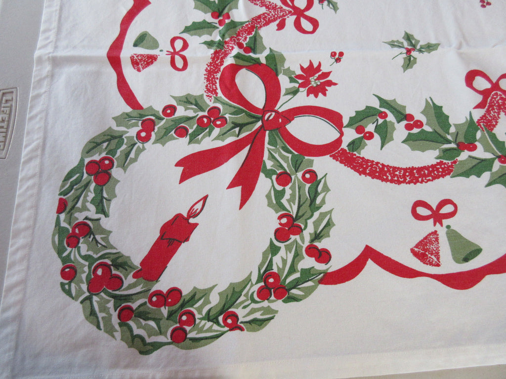 REPRO Holly and Bells Christmas w Envelope Novelty Vintage Printed Tablecloth (52 X 48)