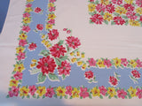 Pink Yellow Dahlias on Blue Floral Vintage Printed Tablecloth (64 X 49)