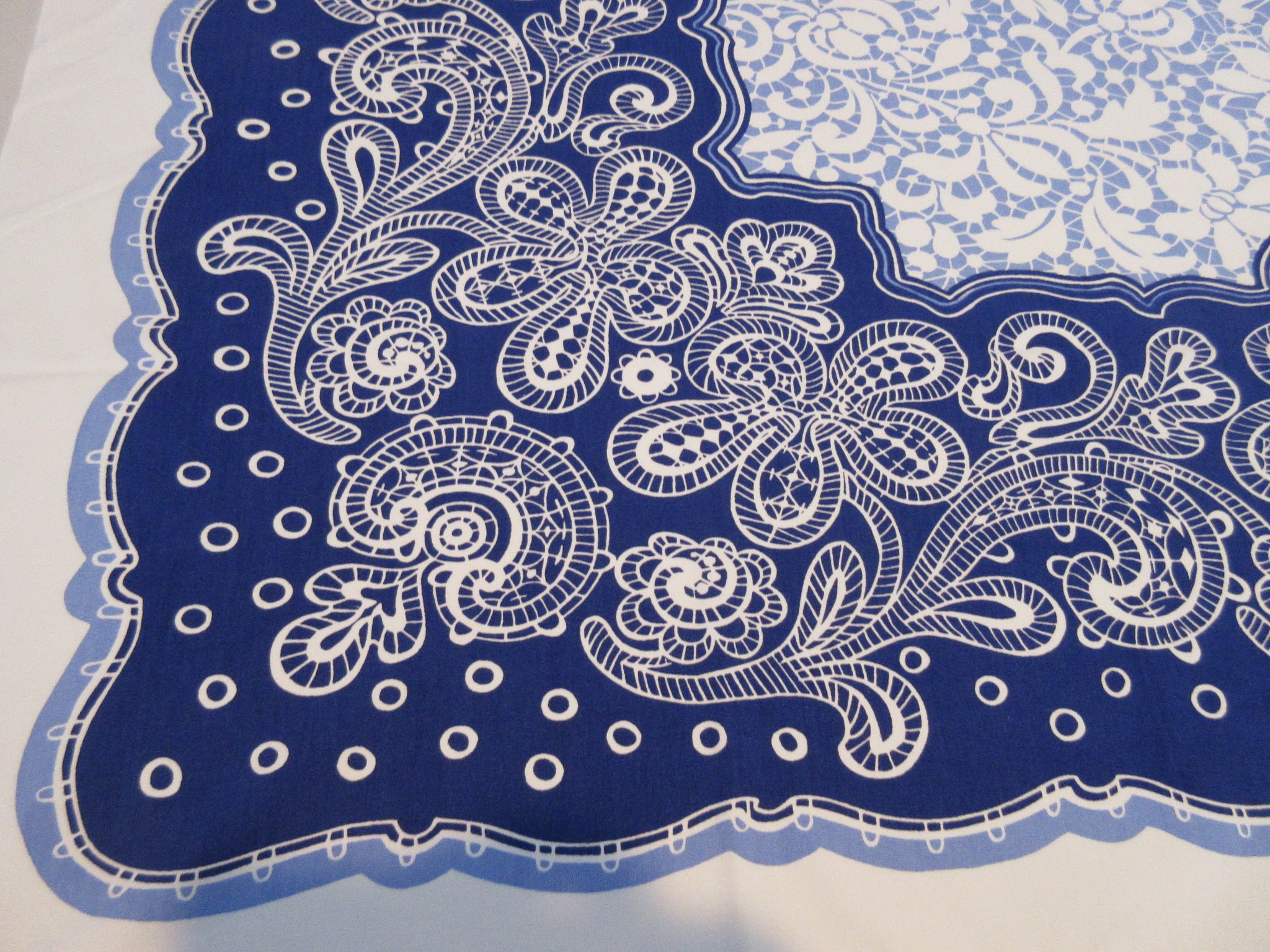 Unusual Bright Blue Lace Floral on Cobalt Vintage Printed Tablecloth (52 X 48)