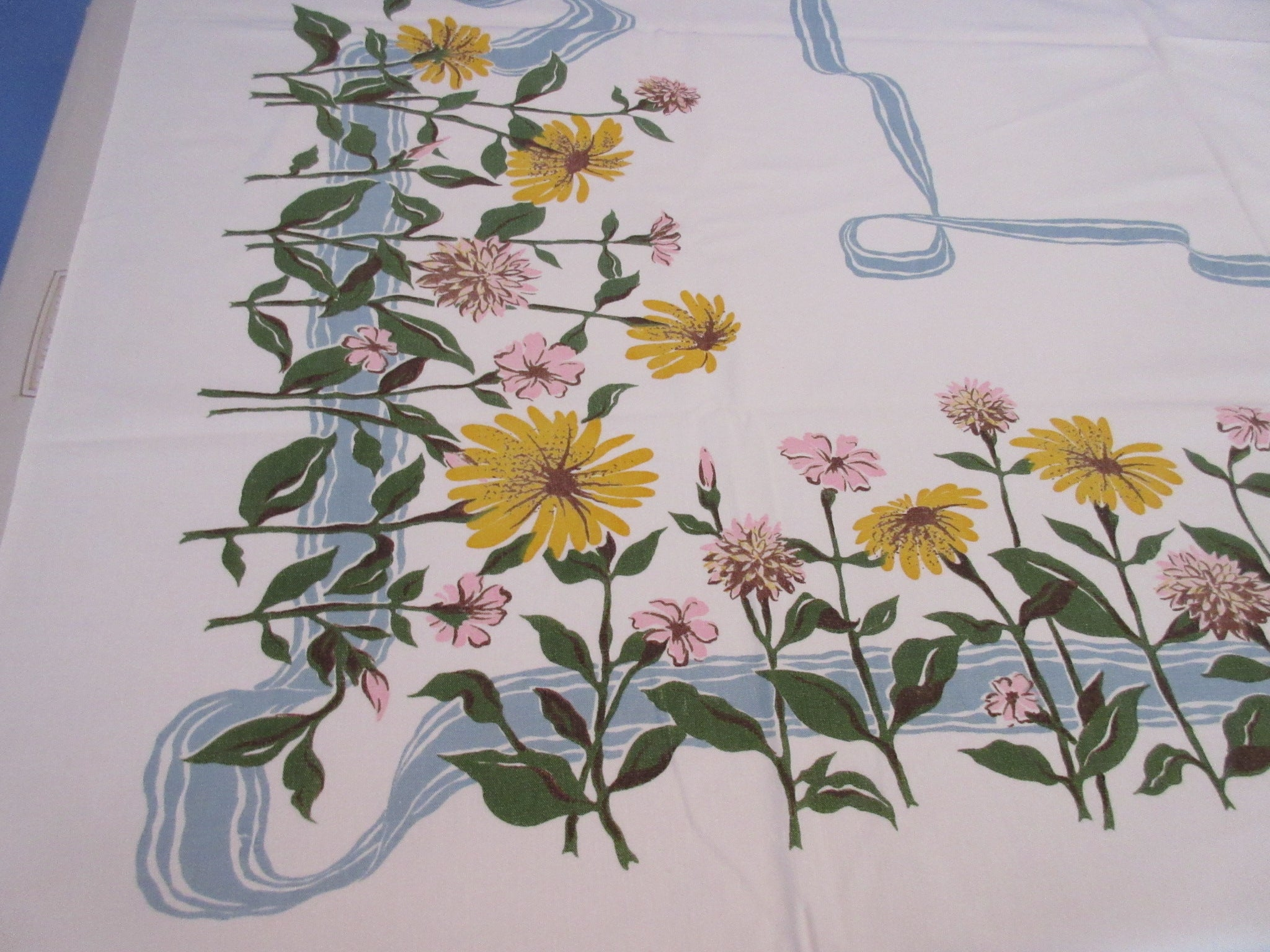 Pastel Pink Yellow Daisies on Blue Gray Ribbon Vintage Printed Tablecloth (52 X 45)