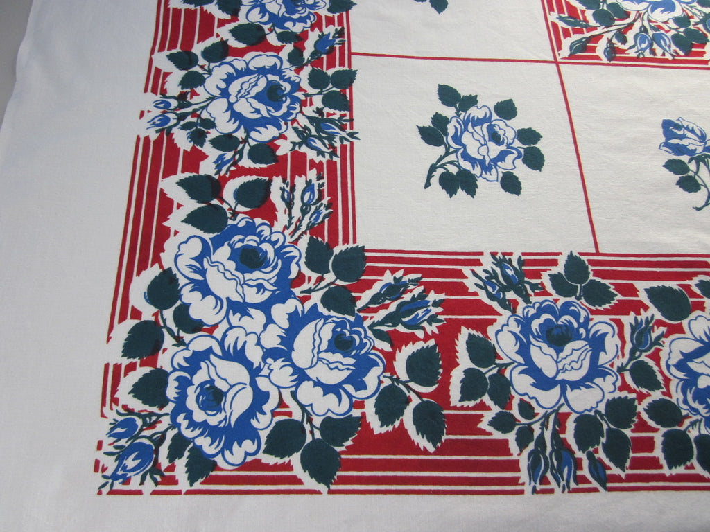 Blue Roses Red Stripes Floral Vintage Printed Tablecloth (48 X 48)