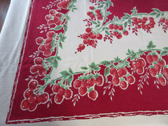 Red Berries on Deep Red Fruit Vintage Printed Tablecloth (70 X 60)