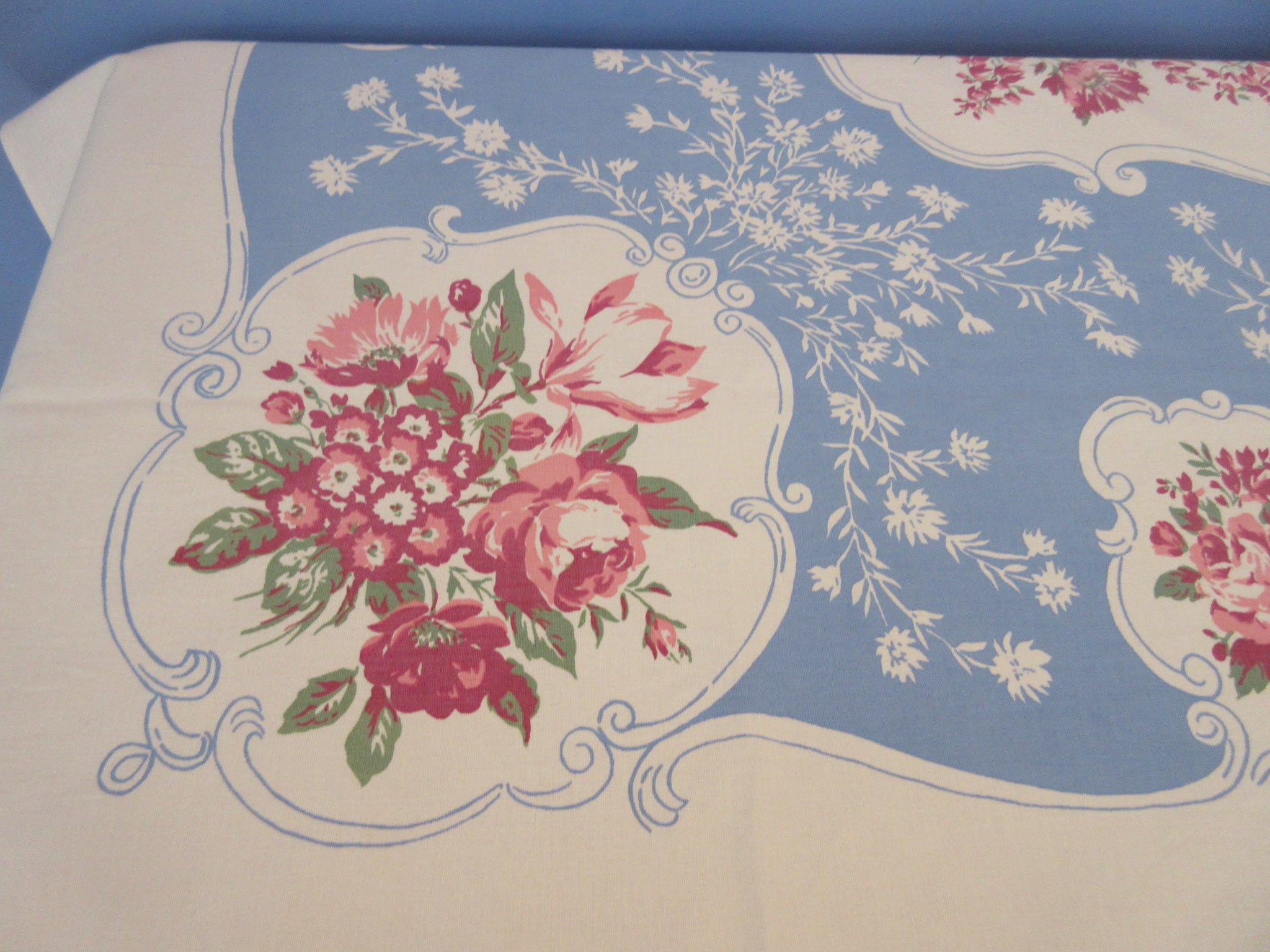 Larger Pink Rose Medallions on French Blue Floral Vintage Printed Tablecloth (72 X 55)