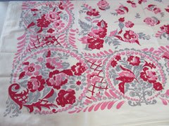 Bright Pink Gray Flowers Floral Vintage Printed Tablecloth (50 X 47)