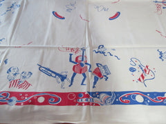 FUGITIVE DYE Rare Barbershop Instruments Novelty Vintage Printed Tablecloth (54 X 45)