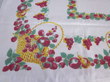 Shabby Primary Fruit Basket Cutter? Vintage Printed Tablecloth (51 X 45)