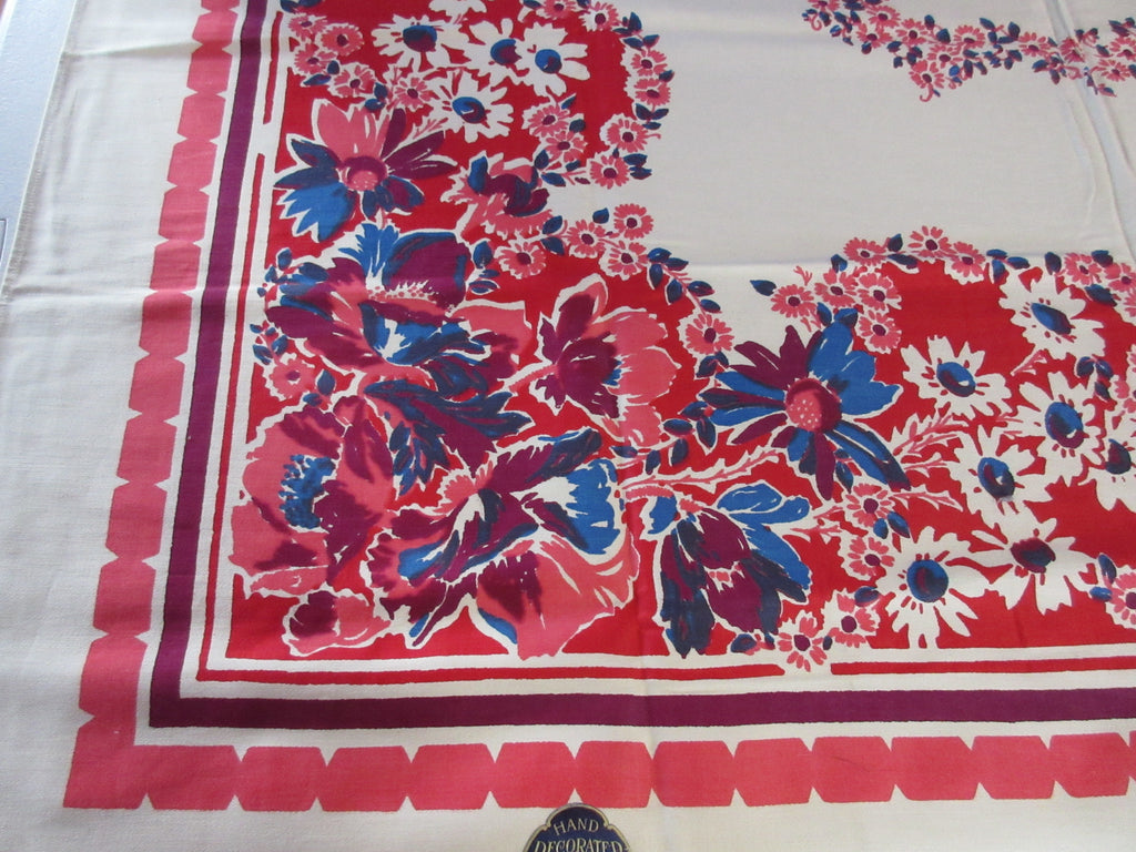 Early Blue Daisies on Red Floral MWT Vintage Printed Tablecloth (52 X 50)