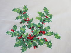 Large Wilendur Holly Array Christmas Vintage Printed Tablecloth (79 X 53)